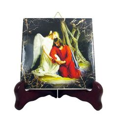 Jesus in the Garden of Gethsemane with the Angel - christian icon on ceramic tile. Now available in my Etsy Store: >>> https://www.etsy.com/listing/248851041 <<<  #Jesus #Christ #Gethsemane #angel #faith #religious #christian #christianity #catholic #pray #etsyfinds