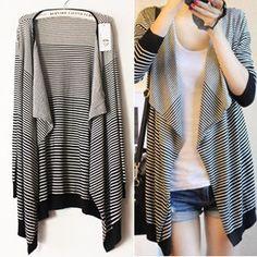 Black ad White Stripes Knitting Cardigan