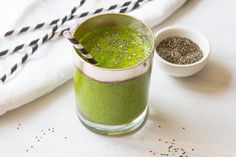 Smoothie Challenge day 2 - Green Chia    Makes 2-3 cups  2 handfuls kale or spinach 1 apple 1 banana 1 avocado 1 tbsp chia seeds 2 cups (500 ml) water  Combine all ingredients in blender and process until smooth. Serve immediately.  NOTE: If you let this smoothie sit too long, the chia seeds will thicken everything so that it becomes difficult to drink.
