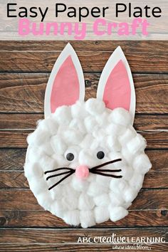 Easy Paper Plate Bunny Craft for Kids. Great for creatiting an easy Easter craft for the kids.