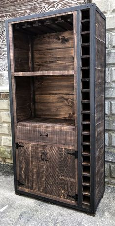 These stunning Rustic Industrial Wine Cabinets are the perfect way to organize your bottles and glasses. Built from genuine rough sawn barn board and steel corners and trim, these cabinets can be… Colorful Furniture, Metal Furniture, Pallet Furniture, Rustic Furniture, Furniture Stores, Modern Furniture, Furniture Vintage, Cheap Furniture, Furniture Decor