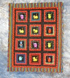 Quilted Pieced Cat Crib Quilt or Throw/Wall Hanging  Cool