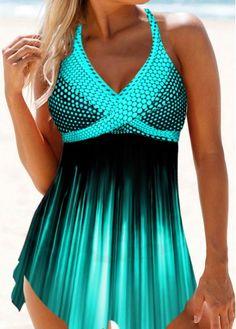 Swimsuits For Women Polka Dot Print Halter Neck Swimdress and Panty Summer Swimwear, Bikini Swimwear, Sexy Bikini, Bikini Set, Beachwear Fashion, Bikini For Women, Swim Dress, Polka Dot Print, Bra Styles