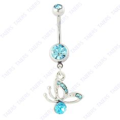 Turquoise Butterfly Belly Ring 14g Surgical Steel