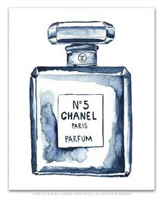 Chanel No. 5 Bottle Watercolor Print | The Studio by LJL