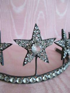 Diadem, Tiara, Haarschmuck, Diamant Sterne, Antikes Original um 1900, Selten ! | eBay