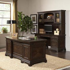 Andover Executive Desk and Credenza with Hutch