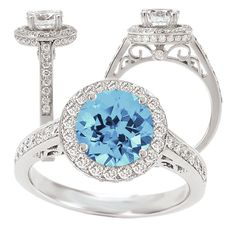 18k Elite Collection Chatham 6.5mm round Aquamarine Spinel engagement ring with natural diamond halo