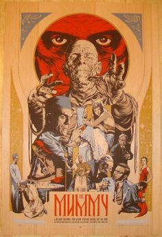"The Mummy - wood variant silkscreen movie poster (click image for more detail) Artist: Martin Ansin Venue: n/a Location: n/a Date: 2011 Edition: 75; numbered Size: 24"" x 36"" Condition: Mint Notes: thi"