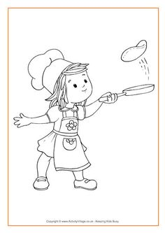 Flipping pancakes colouring page
