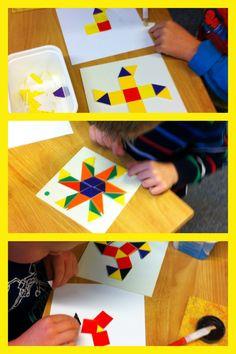 Symetrische patronen naleggen en plakken met mozaïek. meetkunde vormen en figuren