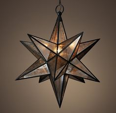 Stair RH Moravian Star Pendant - Aged Iron - available in various sizes Restoration Hardware, Glass Mirror, Foyer Lighting Fixtures, Stair Lighting Pendant, Star Pendant Lighting, Pendant Lighting, Stair Lighting, Star Chandelier, Star Pendant