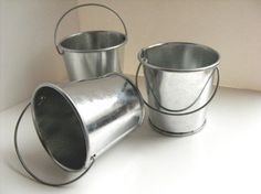 Silver Metal Bucket  stainless steel bucket miniature by DabHands, $3.50