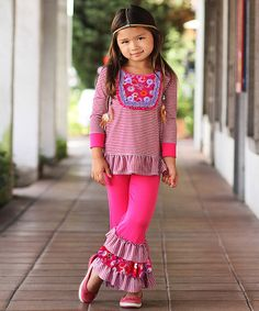 Look at this #zulilyfind! Fuchsia & Purple Tunic & Ruffle Leggings - Girls by Freckles + Kitty #zulilyfinds