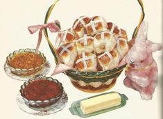 Vintage Recipes: 1964 Breads, Hot Cross Buns, Doughnuts and Griddlecakes Old Recipes, Easy Cake Recipes, Vintage Recipes, Easter Recipes, Cooking Recipes, Easter Food, Cookie Frosting Recipe, Icing Recipe, Frosting Recipes