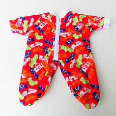 Bitty-Baby-Pajamas-15-Made-for-Sleeper-Zip-Twin-Pj-Doll-Clothes-Boy-Red-Car