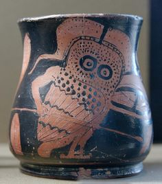 Armed Owl. Attic oinichoe, perhaps for the Anthesteria, c 400 BC, Louvre.
