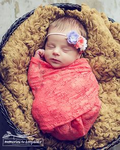 Coral Orange Floral Lace Newborn Stretch Wrap, Newborns Baby Girls Prop Wraps, Vintage Photography Maternity Props, Ready to Ship. $10.00, via Etsy.