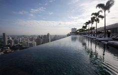 150-meter infinity swimming pool, 57 stories above the ground ~ Marina Bay Sands, Singapore