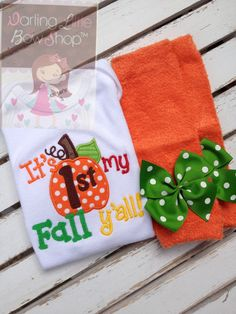 My 1st Fall y'all  bodysuit and leg warmers outfit for baby girls  by DarlingLittleBowShop