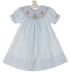NEW Rosalina Pale Blue Bishop Smocked Dress with Birthday Cake Embroidery $50.00