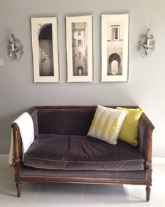 master bedroom settee Keisuke Yamamoto crystal sconces gray and yellow Sofa Chair, Couch, Settee, Gray Bedroom, Master Bedroom, Crystal Sconce, Striped Curtains, Arched Windows, Custom Design