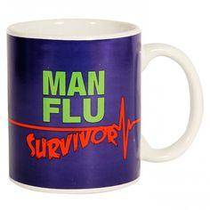 Man Flu Survivor Mug on Yellow Octopus #giftsformen #gifts #man #flu #survivor #mug