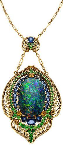 Turn of the century Black Opal, Demantoid Garnet, Sapphire, Gold Necklace by LC Tiffany