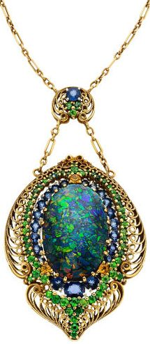 Turn of the century Black Opal, Demantoid Garnet, Sapphire, Gold Necklace by LC Tiffany