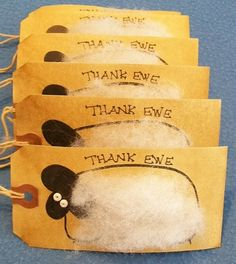 10 THANK EWE Fuzzy Sheep Lambs Gift Hang Tags by AbsolutelyDottie, $8.50