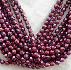 25 6mm Czech Eggplant Purple Glass Pearl by GloriousGlassBeads