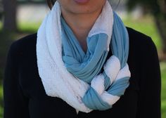 Braided Infinity Scarf in Blue and Textured White