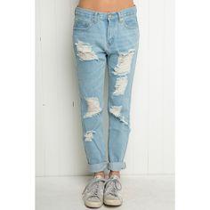 Destroyed Boyfriend Denim ($45) ❤ liked on Polyvore featuring jeans, torn boyfriend jeans, destroyed denim jeans, destroyed jeans, cuffed boyfriend jeans y destroyed boyfriend jeans