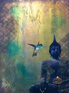 """In the stillness of the mind I saw myself as I am - unbound"". ~ Sri Nisargadatta Maharaj ♥ lis Buddha and the Hummingbird Buddha Zen, Gautama Buddha, Buddha Buddhism, Chakra Art, Buddha Painting, Avatar, Modern Artwork, Cute Art, Art Pictures"