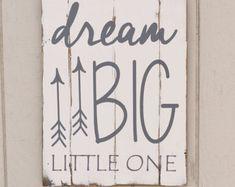 Dream Big Little One - Reclaimed Wood Planked Art - Rustic Nursery / Woodland - gender neutral - arrows - tribal - cusomizable