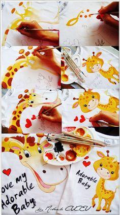 Giraffe - pictura manuala tricouri set mama si fiica! Baby E, Cute Babies, Unique, Atelier, Funny Babies