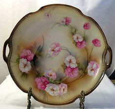 RS-Germany-Floral-Embossed-Gold-Edges-11-1-2-Plate-Platter-w-Handles