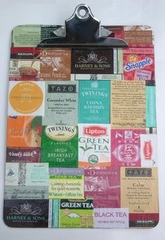 Like this idea for a clipboard. Tea packages mod podged on