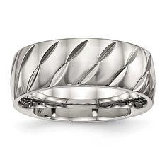 Chisel Polished Diamond Cut Ring - Sizes 7 - 13, Men's