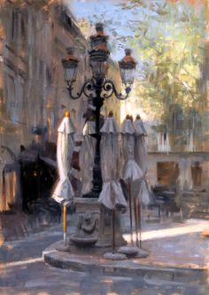 Aldo Balding beautiful painting in Place Carnot, Carcassonne