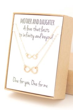 These sweet matching gold infinity necklaces are the perfect gift for mom on Mother's Day! You wear one, and mom wears the other! Plus, personalize the note inside the jewelry box to tell mom just how much you love her.