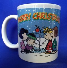 Peanuts Merry Christmas Mug Charlie Brown Snoopy and The Gang Tree Coffee Cup #peanuts #charliebrown