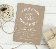 Kraft Save the Date Template INSTANT DOWNLOAD par MintyPaperieShop
