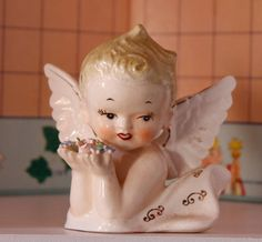 Vintage Lefton/Napco Cherub, Collectible Angel Figurine, Art & Collectible, Angel, Angel Baby, Angel Collectible,Vintage Angel Bust Figurine