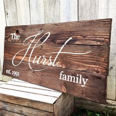 Rustic Ex Large Family Name and est. date reclaimed pallet wood sign est established anniversary personalized distressed by WehuntWoodDecor on Etsy https://www.etsy.com/listing/258926856/rustic-ex-large-family-name-and-est-date