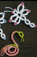 Tatted Dragonfly & Swan (could also be an ostrich if you make the neck straight & add 2 long legs) | tatting patterns by Jon at tat-a-renda patterns