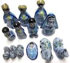 Vintage Nativity Set Jalisco Tonala Blue by sweetie2sweetie, $169.95