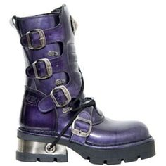 New Rock Boots - 373 - Purple Patent Mid Calf Boot [M373]