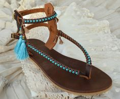 READY TO SHIP Boho Leather Sandals flat sandals by SarakWorkshop