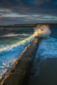 Sennen Cove, Cornwall, England - this reminds me of recurring dreams I have, except the waves are tsunami size. Ocean Beach, Ocean Waves, Big Waves, Ocean Pics, Beautiful World, Beautiful Places, Beautiful Ocean, St Just, Nature Landscape